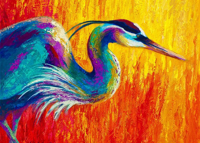 Heron Greeting Card featuring the painting Stalking The Marsh - Great Blue Heron by Marion Rose