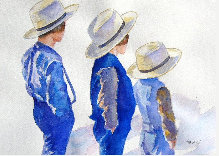 Boys Greeting Card featuring the painting Standing Watch by Marsha Elliott