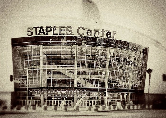 Landscape Greeting Card featuring the photograph Staples Center by Ariane Moshayedi