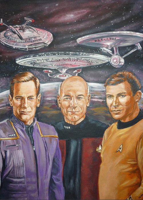 Star Trek Greeting Card featuring the painting Star Trek Tribute Enterprise Captains by Bryan Bustard