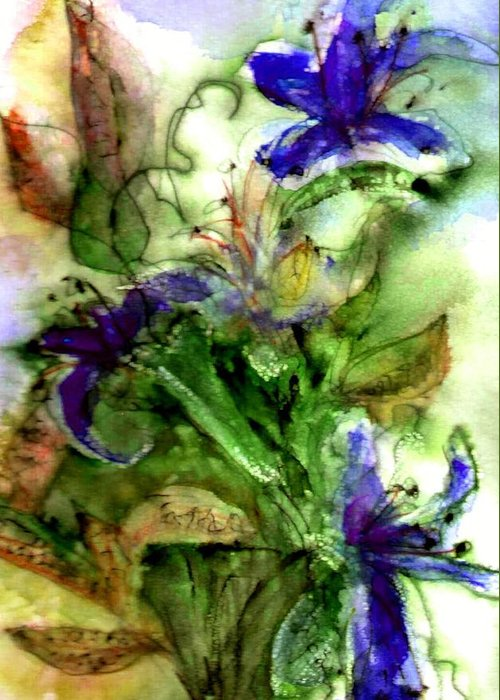 Flower Greeting Card featuring the painting Starflower by Anne Duke