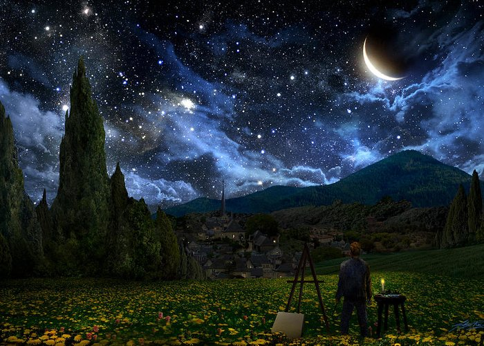 Van Gogh Greeting Card featuring the painting Starry Night by Alex Ruiz