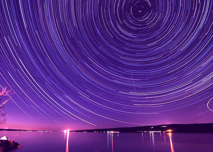 Star Greeting Card featuring the photograph Starry Night Of Cayuga Lake by Paul Ge