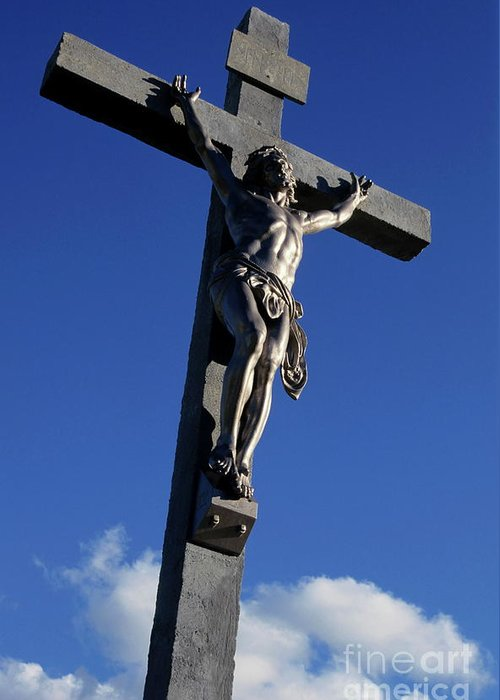 Bouches-du-rhone Greeting Card featuring the photograph Statue Of Jesus Christ On The Cross by Sami Sarkis