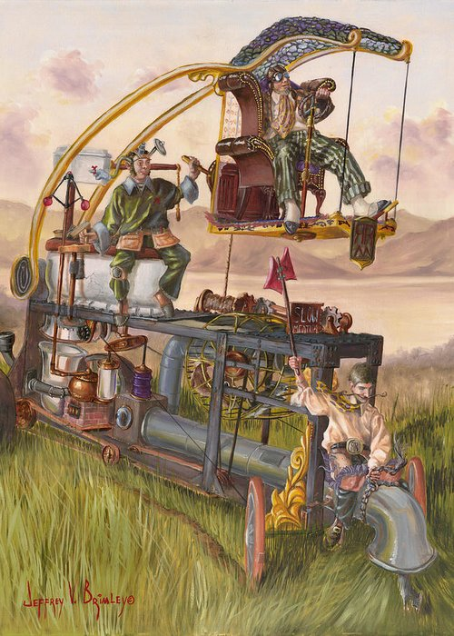 Machine Greeting Card featuring the painting Steam Powered Rodent Remover by Jeff Brimley