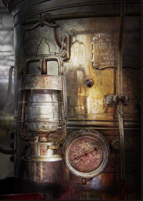 Hdr Greeting Card featuring the photograph Steampunk - Silent Into The Night by Mike Savad