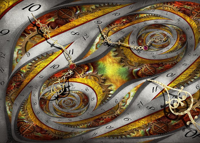 Steampunk Greeting Card featuring the photograph Steampunk - Spiral - Space Time Continuum by Mike Savad