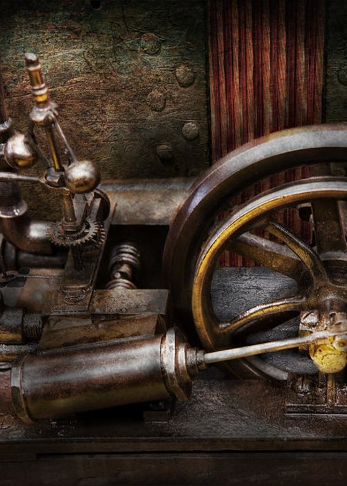 Hdr Greeting Card featuring the photograph Steampunk - The Contraption by Mike Savad