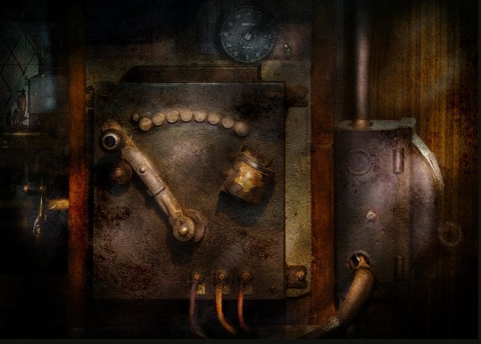 Hdr Greeting Card featuring the photograph Steampunk - The Control Room by Mike Savad