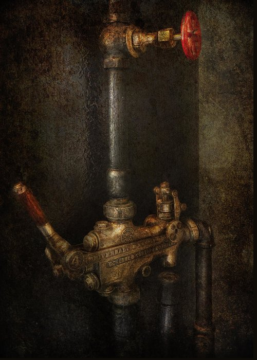 Steampunk Greeting Card featuring the photograph Steampunk - Plumbing - Number 4 - Universal by Mike Savad