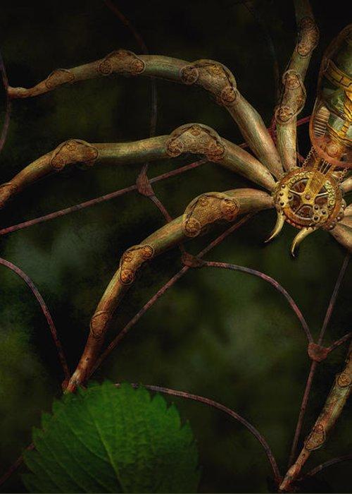 Steampunk Greeting Card featuring the photograph Steampunk - Spider - Arachnia Automata by Mike Savad