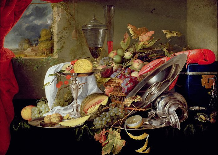 Still Lives Greeting Card featuring the painting Still Life by Jan Davidsz Heem