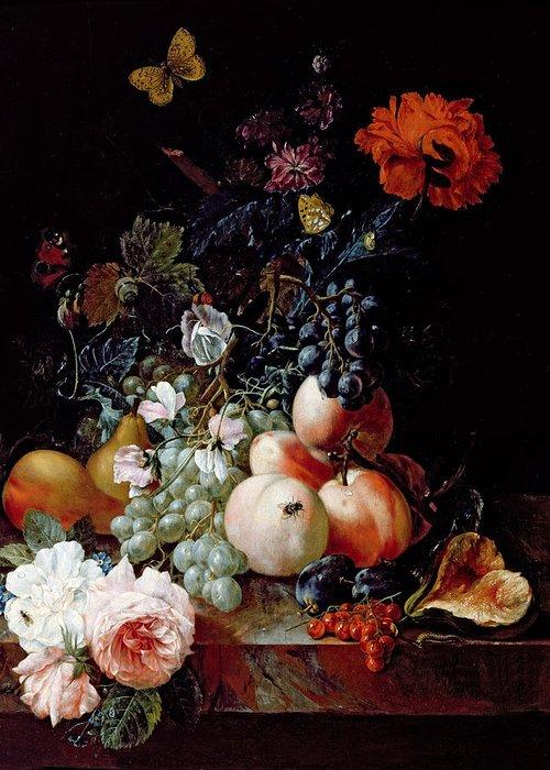 Still Greeting Card featuring the painting Still Life by Johann Amandus Winck