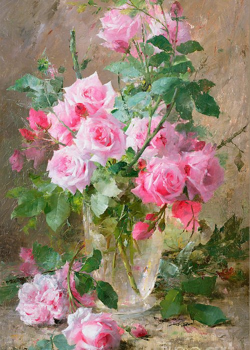 Still Greeting Card featuring the painting Still Life Of Roses In A Glass Vase by Frans Mortelmans
