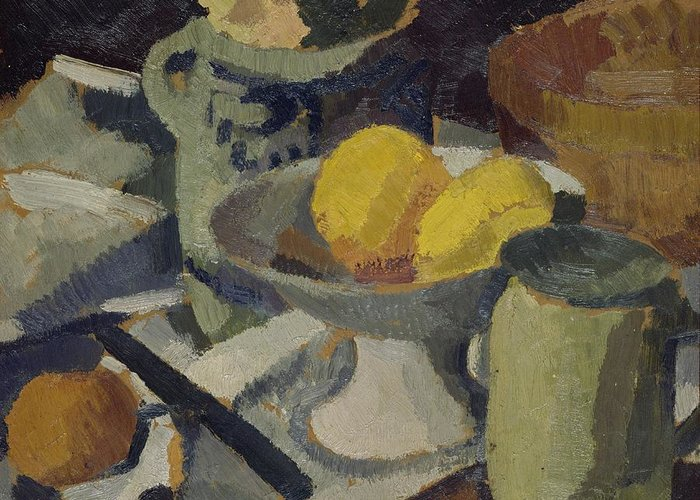 Still Greeting Card featuring the painting Still Life by Roger de La Fresnaye