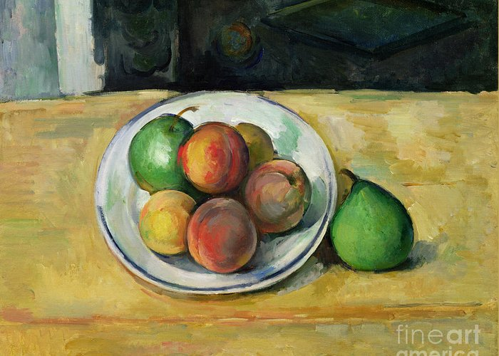 Still Greeting Card featuring the painting Still Life With A Peach And Two Green Pears by Paul Cezanne