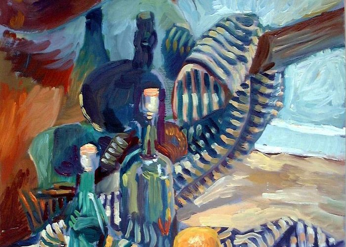 Still Life Greeting Card featuring the painting Still Life With Guitar by Piotr Antonow
