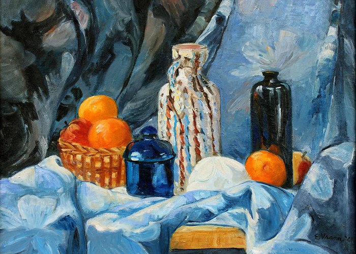 Still Life Greeting Card featuring the painting Still Life With Jugs And Oranges by Ethel Vrana