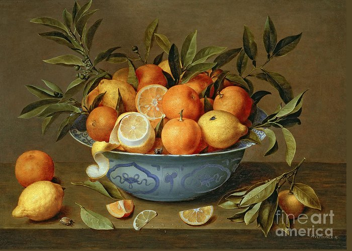 Still Greeting Card featuring the painting Still Life With Oranges And Lemons In A Wan-li Porcelain Dish by Jacob van Hulsdonck