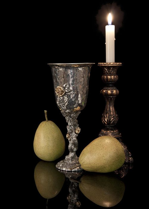 Chalice Greeting Card featuring the photograph Still Life With Pears by Tom Mc Nemar