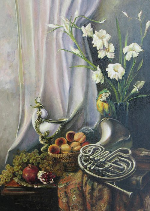 Armenian Greeting Card featuring the painting Still-life With The French Horn by Tigran Ghulyan