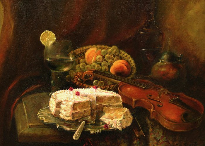 Armenian Greeting Card featuring the painting Still-life With The Violin by Tigran Ghulyan