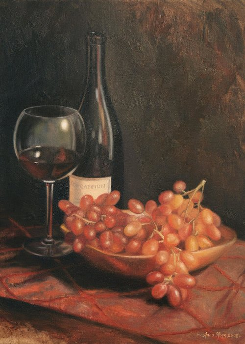 Wine Greeting Card featuring the painting Still Life With Wine And Grapes by Anna Rose Bain