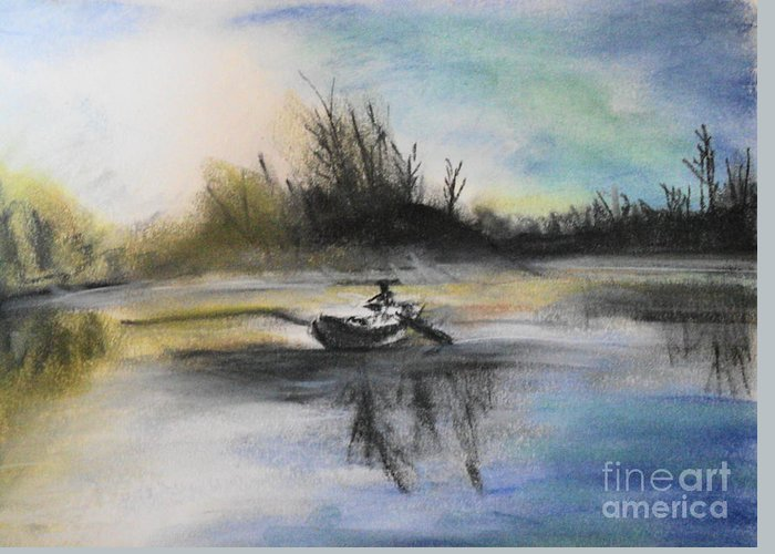 Landscape Greeting Card featuring the pastel Still Moment by Janice Robertson