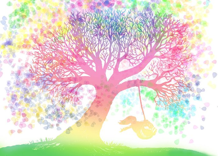 Rainbow Tree Dreams Greeting Card featuring the painting Still More Rainbow Tree Dreams 2 by Nick Gustafson