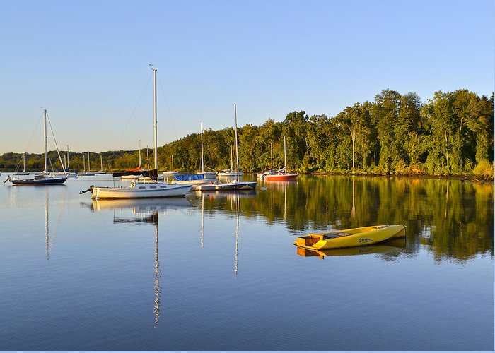 Alexandria Greeting Card featuring the photograph Still Waters On The Potomac River At Belle Haven Marina Virginia by Brendan Reals
