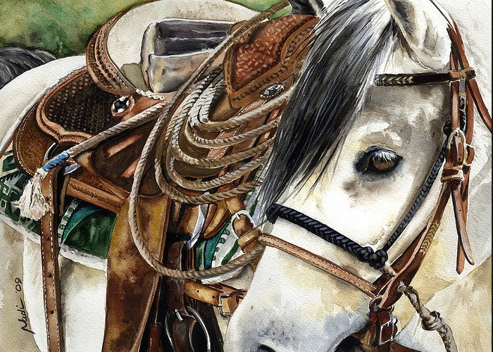 Cowboy Greeting Card featuring the painting Stirrup Up by Nadi Spencer