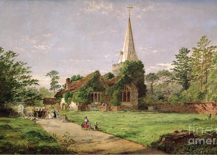 Stoke Greeting Card featuring the painting Stoke Poges Church by Jasper Francis Cropsey