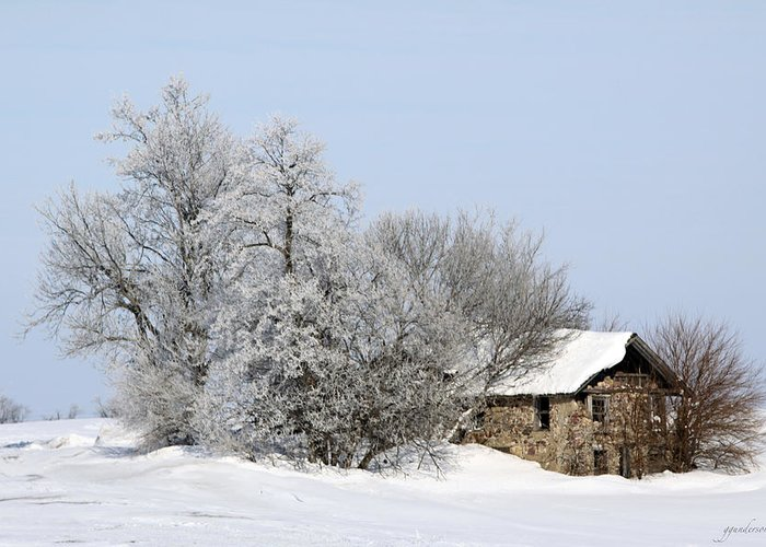 Old Cabins Greeting Card featuring the photograph Stone House In Winter by Gary Gunderson