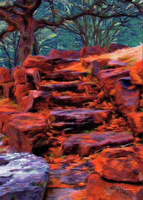 Stone Steps Greeting Card featuring the painting Stone Steps In Autumn by Jeff Kolker