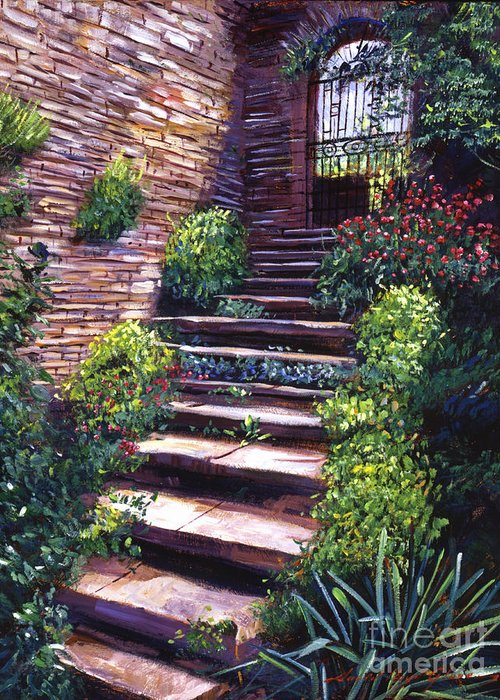 Tuscany Greeting Card featuring the painting Stone Steps Tuscany by David Lloyd Glover