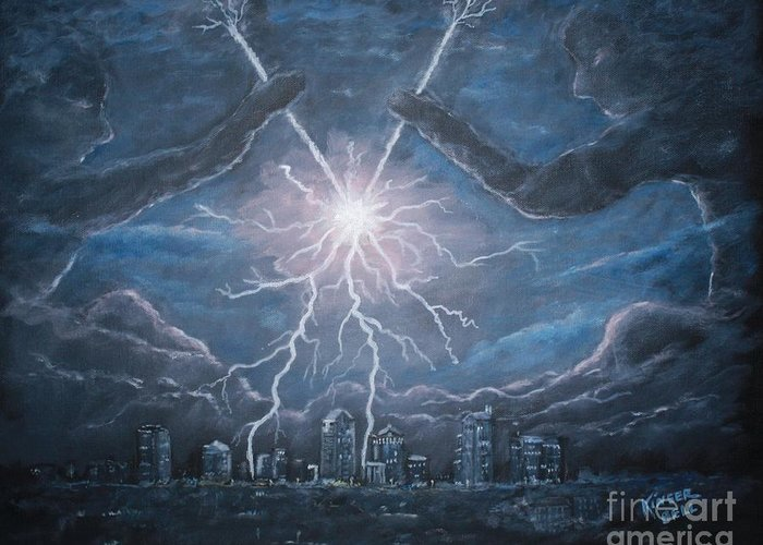 Lightning Greeting Card featuring the painting Storm Games by Marlene Kinser Bell