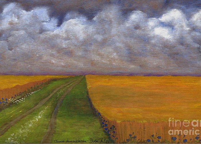 Folkartanna Greeting Card featuring the painting Storm Is Coming by Anna Folkartanna Maciejewska-Dyba