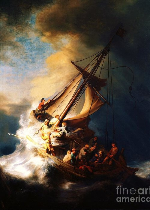 Pd Greeting Card featuring the painting Storm On The Sea Of Galilee by Pg Reproductions