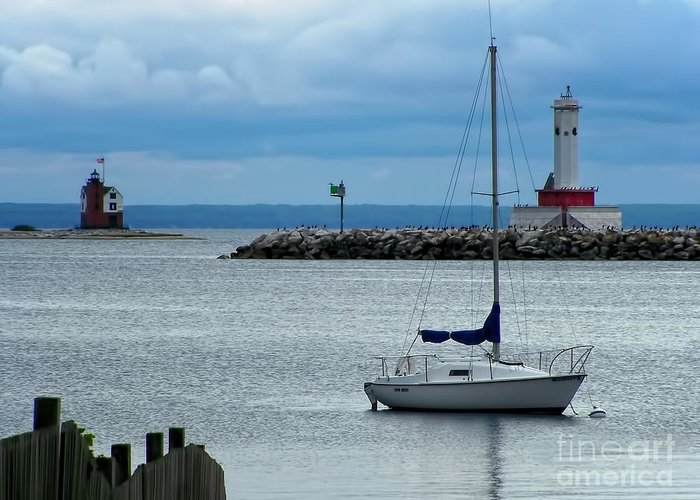 Boat Greeting Card featuring the photograph Storm Over Mackinac by Pamela Baker