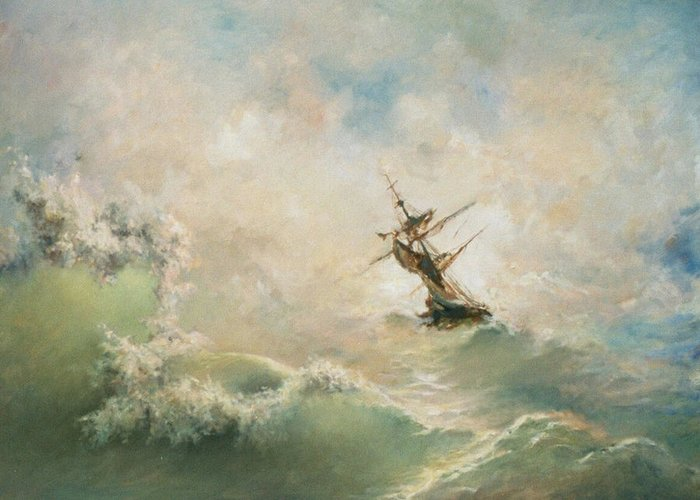Storm Greeting Card featuring the painting Storm by Tigran Ghulyan