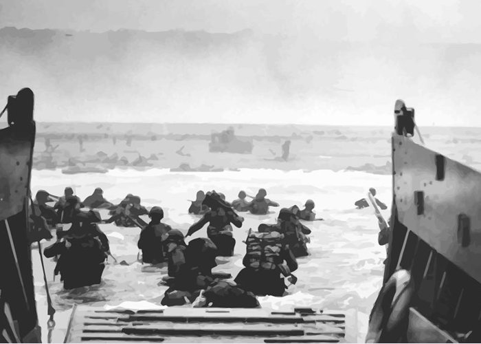 D Day Greeting Card featuring the painting Storming The Beach On D-day by War Is Hell Store