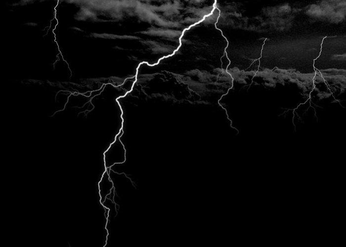 Lightning Greeting Card featuring the digital art Stormy Night by Brad Scott