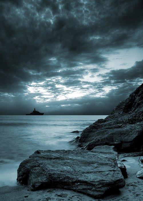 Bay Greeting Card featuring the photograph Stormy Ocean by Jaroslaw Grudzinski