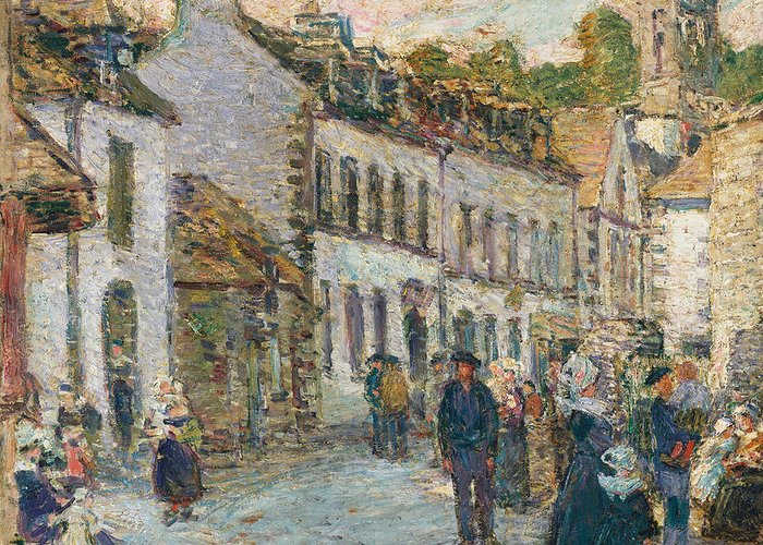 Street In Pont Aven - Evening Greeting Card featuring the painting Street In Pont Aven by Childe Hassam