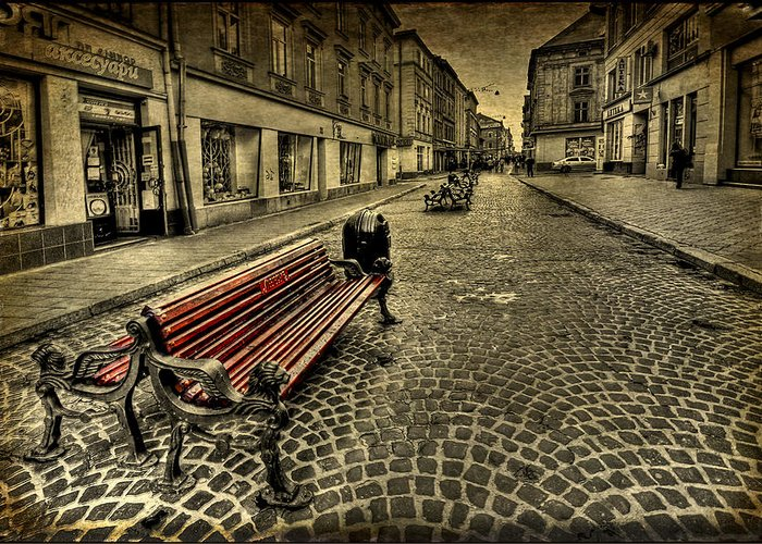Bench Greeting Card featuring the photograph Street Seat by Evelina Kremsdorf