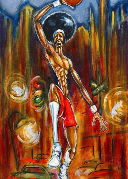 Basketball Painting Greeting Card featuring the painting Streetball by Daryl Price