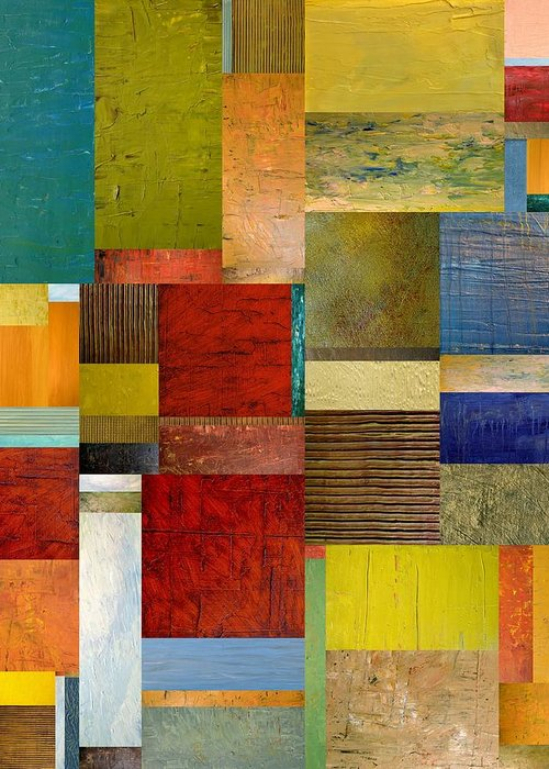 Textural Greeting Card featuring the painting Strips And Pieces L by Michelle Calkins