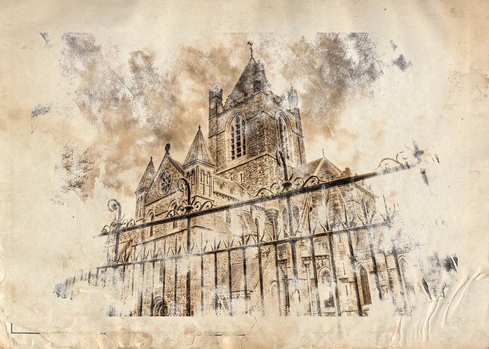 Stroked S.patrick Cathedral Greeting Card by Andrea Barbieri