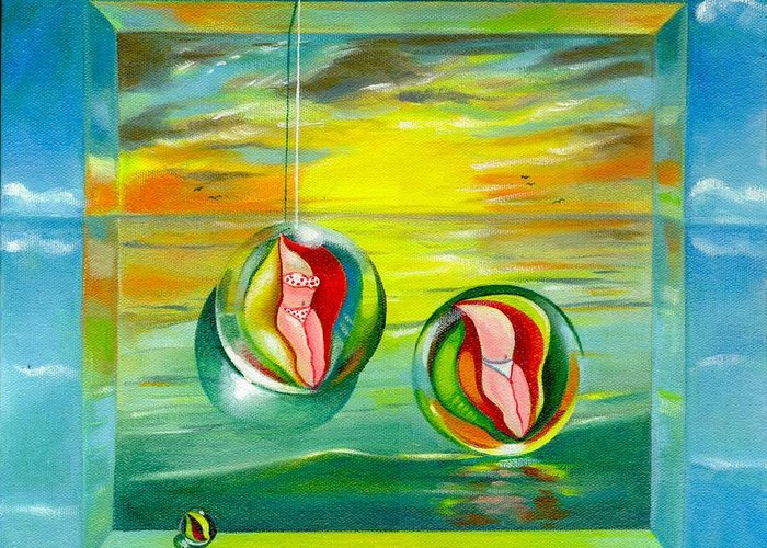 Surrealism Greeting Card featuring the painting Strollin Miami Beach At Sunset by Roger Calle