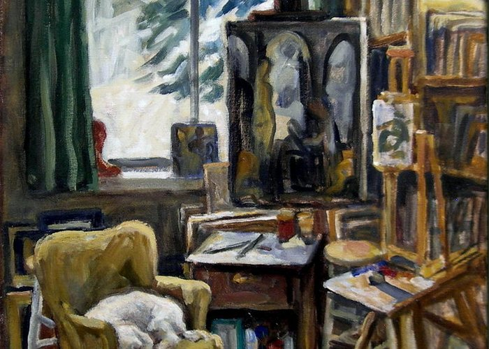 Greeting Card featuring the painting Studio Dog by Thor Wickstrom